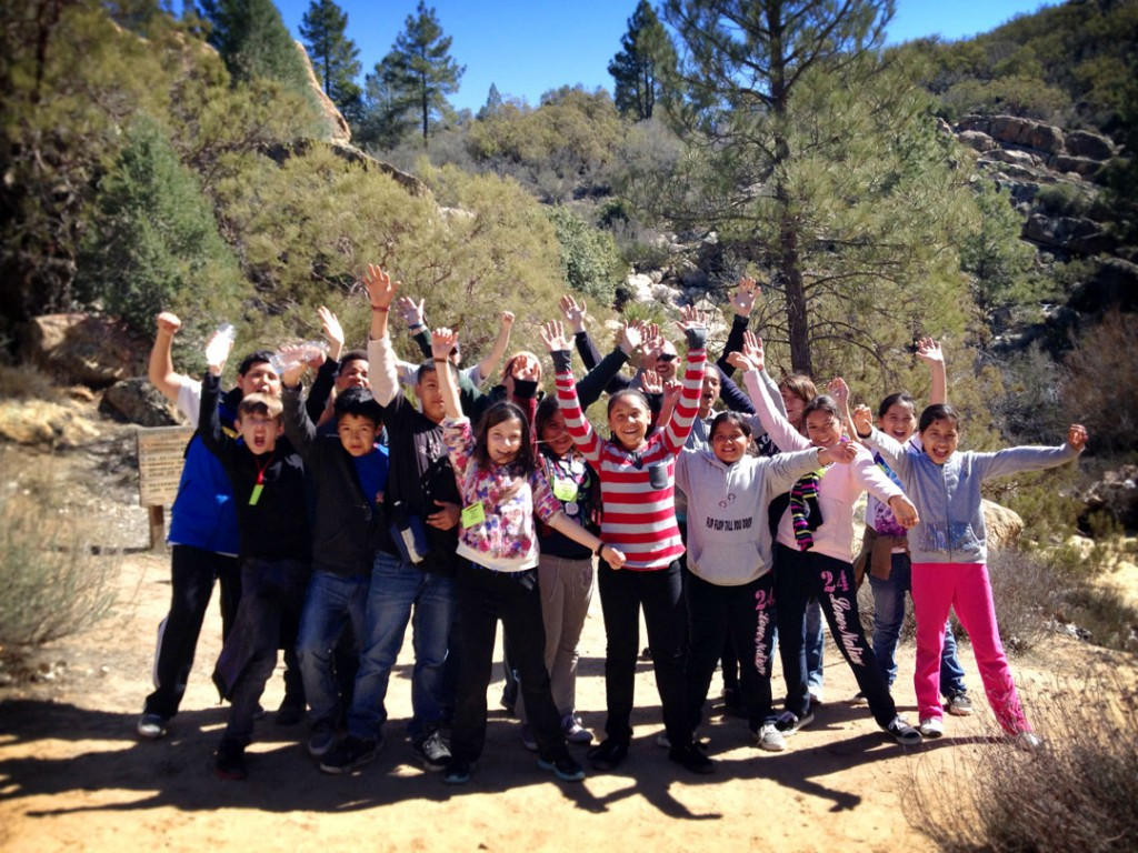 Science class outdoors at Pathfinder Ranch California