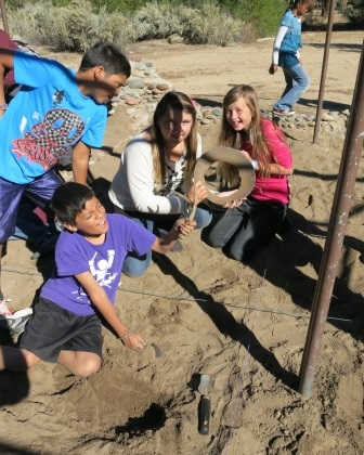 Archaeology is a favorite for many students, and here is a photo of some students looking for artifacts.