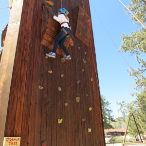 Here's a student climbing the Joshua Tree wall!