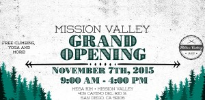 Flier from Mesa Rim rock climbing gym grand opening.